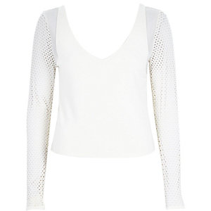 Cream mesh sleeve top