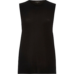 Black jersey tank top