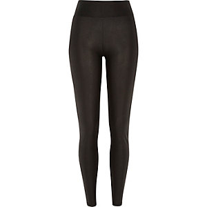 Black snake wet look high waist leggings