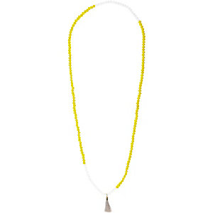 Yellow long beaded tassel necklace
