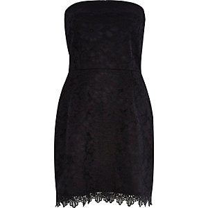 Black lace bandeau party dress