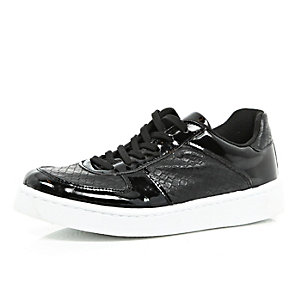 Black chunky patent lace up trainers