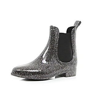 Black glitter ankle wellington boots