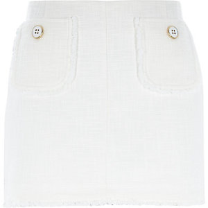 White smart tweed mini skirt