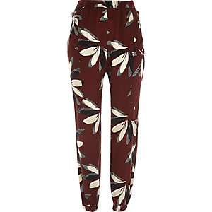 Red floral print joggers