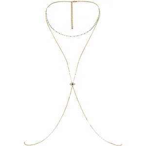 Gold tone eye charm body harness