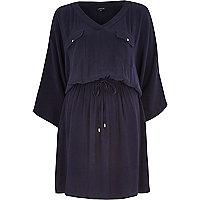 Navy drawstring waist kimono dress