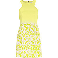 Yellow floral jacquard A-line dress
