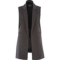 Dark grey jersey sleeveless jacket