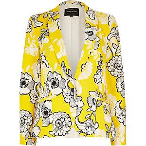Yellow floral print blazer