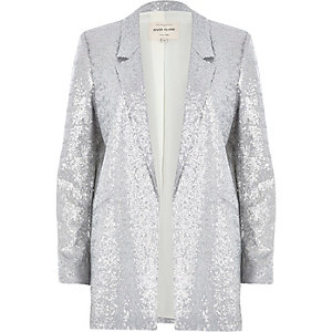 Silver metallic tailored blazer