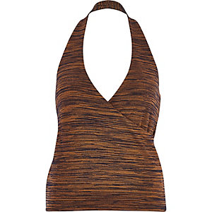 Brown space dye halter neck