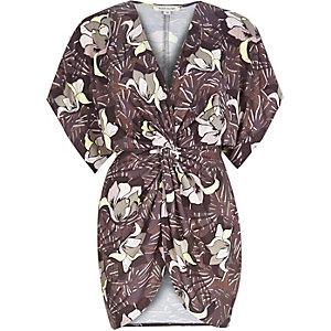 Khaki floral print wrap front top