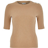 Camel fitted ribbed button shoulder top