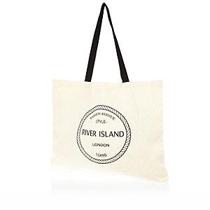 Cream RI print shopper tote bag