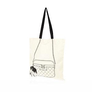 Cream bag print shopper tote bag