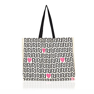 Cream RI print shopper tote bag