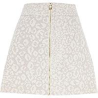 Beige leopard print A-line zip skirt
