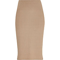 Beige luxe ribbed pencil skirt