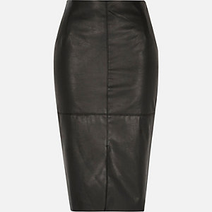 Black leather-look split front pencil skirt