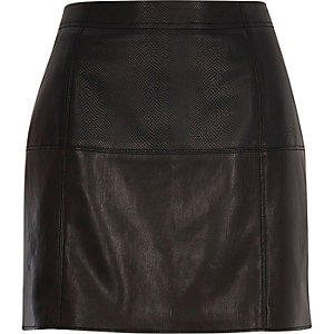 Black snake print pelmet skirt