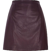 Dark purple raw hem leather-look skirt