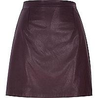 Dark purple raw hem leather-look skirt