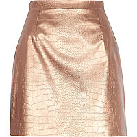Bronze snake print raw hem leather-look skirt