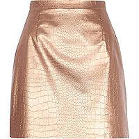 Bronze snake print raw hem leather-look skirt