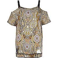 Khaki paisley print cold shoulder top