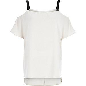 Beige cold shoulder strappy top