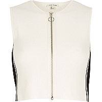 White and black zip front top