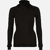 Black lightweight roll neck top