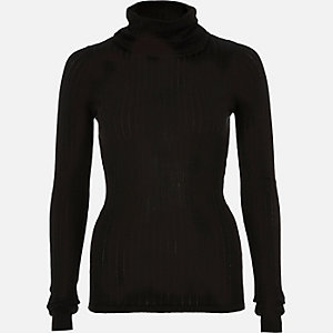 Black lightweight roll neck knitted top