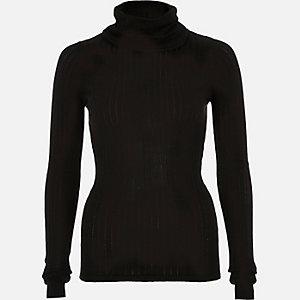 Black lightweight roll neck top
