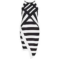 Black stripe bodycon wrap dress