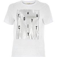 White Tokyo foil print split back t-shirt