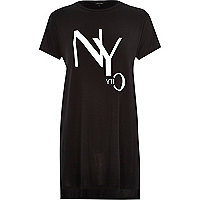 Black NYC side split oversized t-shirt