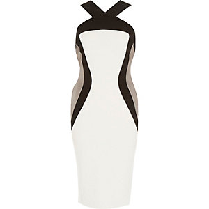 White panelled wide strap bodycon dress