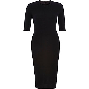 Black ribbed bodycon 3/4 sleeve dress