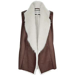 Brown faux fur sleeveless vest
