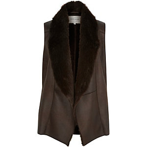 Dark brown plush faux fur gilet