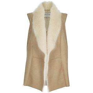 Cream plush faux fur gilet