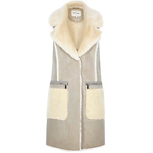 Beige faux shearling sleeveless gilet