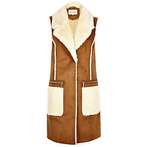 Camel brown faux-suede sleeveless jacket