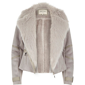 Grey faux suede and fur biker jacket