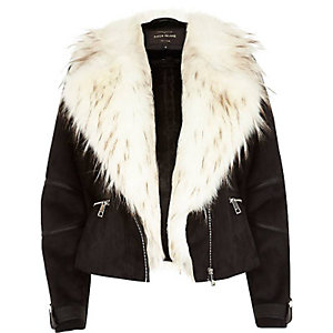 Black faux suede and fur biker jacket