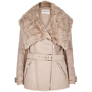 Taupe leather-look belted faux fur coat