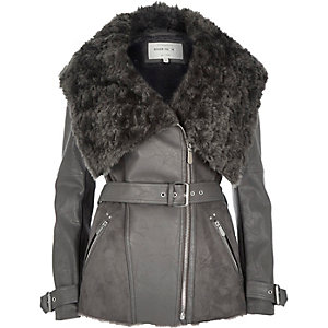 Dark grey belted faux fur jacket