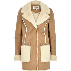 Camel brown faux-suede winter coat